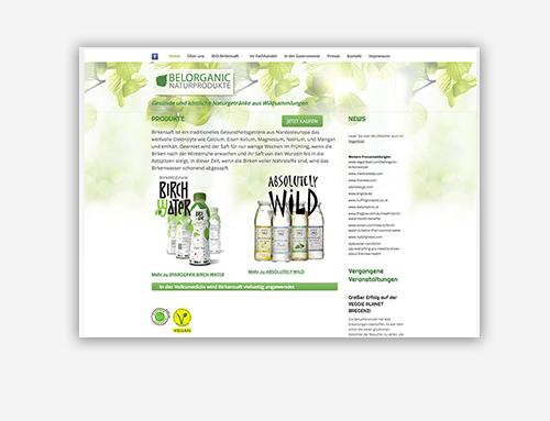 Homepage eines Getränkehersteller
